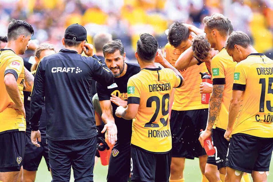 Nach einigen Anlaufschwierigkeiten scheint Dynamo-Coach Cristian Fiel (M.) sein Stammpersonal gefunden zu haben.