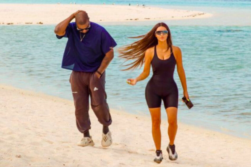 Kim Kardashian shared this photo of the couple on the beach together on her Instagram account in October.