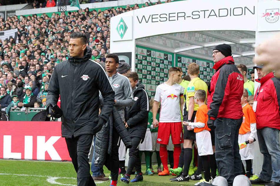 RB-Leipzig-Torjäger Davie Selke beim Auswärtsspiel von RB Leipzig in Bremen. Werder-Manager Frank Baumann beschäftigt sich mit einer Rückkehr Selkes.