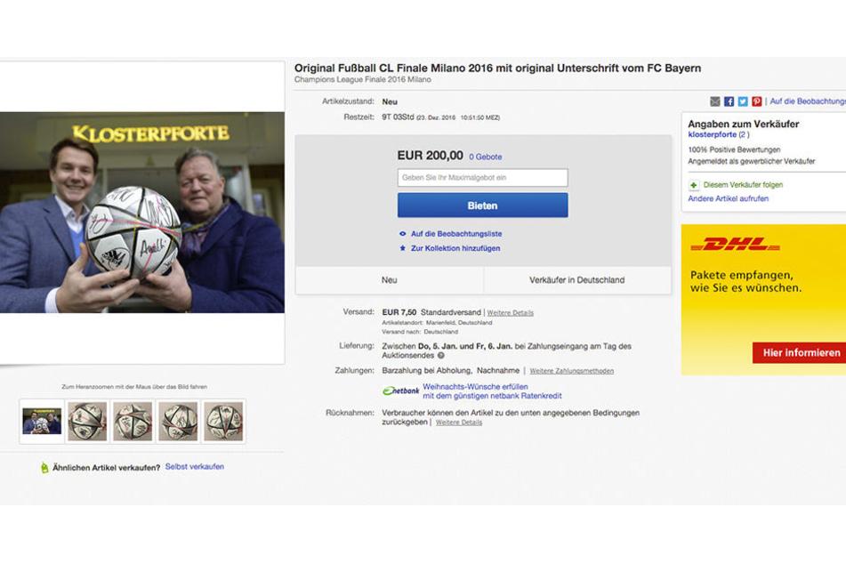 Auf eBay gibt's den Final-Ball der Champions League zu ersteigern.