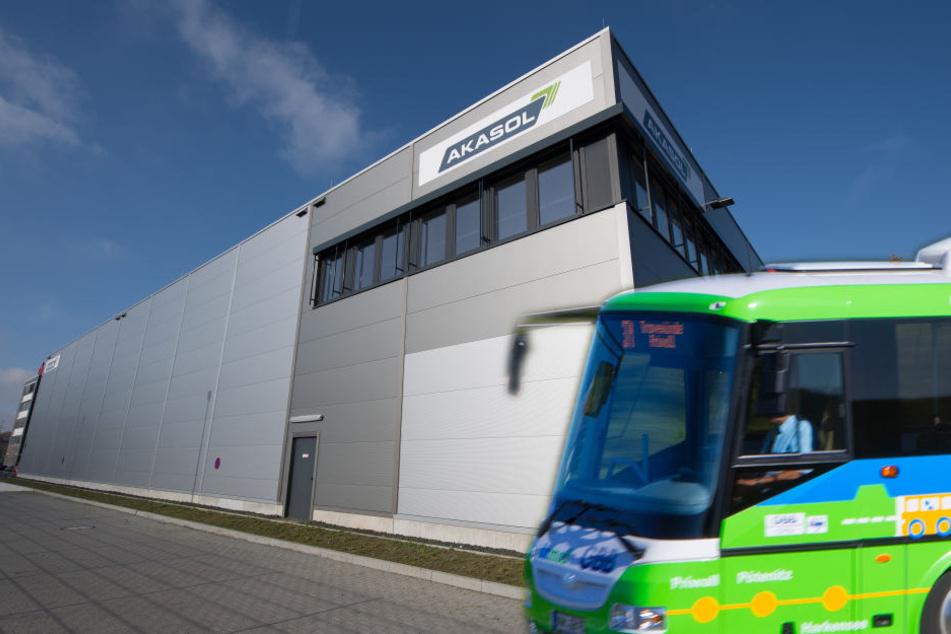 3000 E-Busse sollen pro Jahr in der Akasol-Fabrik produziert werden. (Fotomontage)