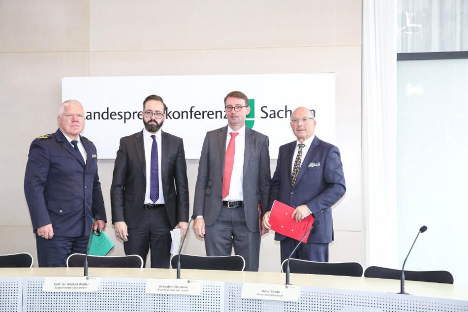 """Das öffentliche, nicht abgesprochene Vorpreschen der CDU-Minister Roland Wöller (r.) und Sebastian Gemkow in Sachen """"SoKo LinX"""" sorgt für Knatsch."""