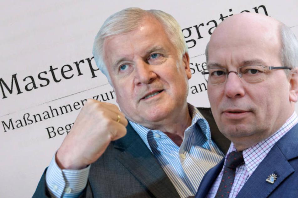 Bundesinnenminister Horst Seehofer (69, CSU) erhält Zuspruch von Polizeigewerkschafter Rainer Wendt (64).