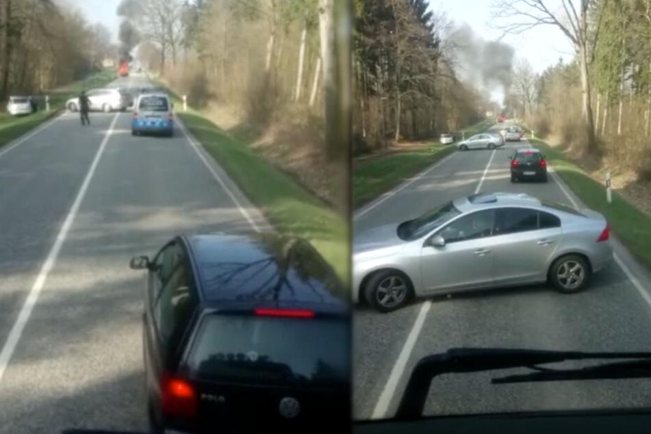 Erschreckende Bilder! Fahrer verbrennt im Auto und keiner will helfen