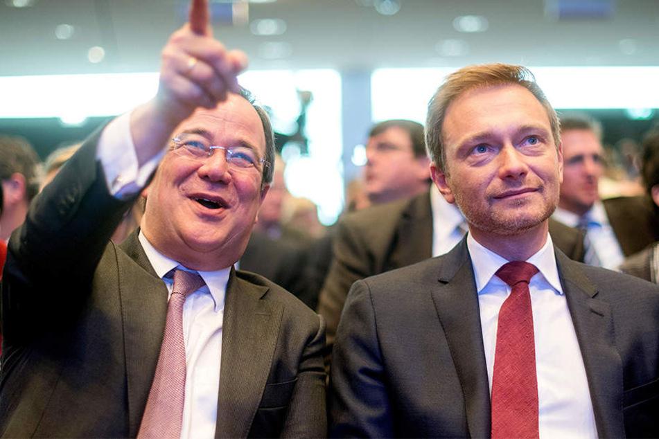 Armin Laschet (links) und Christian Lindner wollen über eine Koalition in NRW verhandeln.