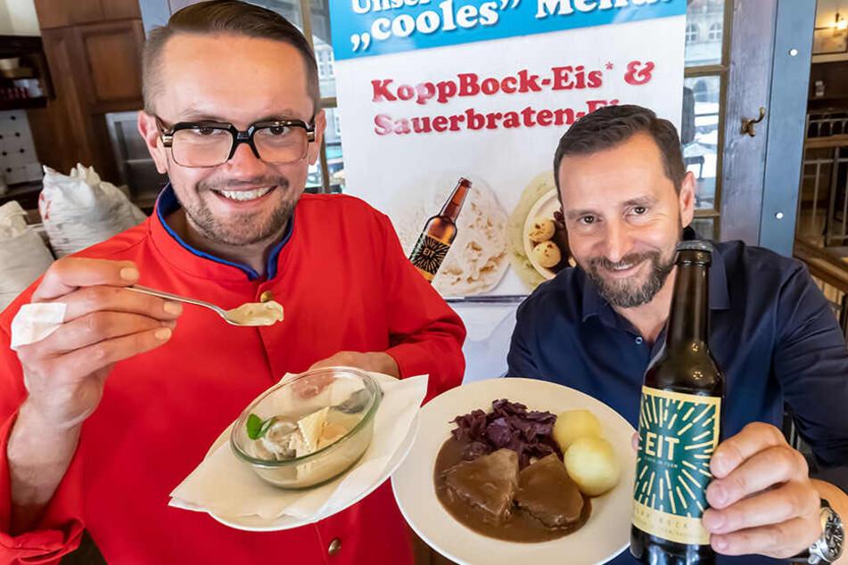 """Andreas Marschner (l.) von Marschner's Eiscafé und Turm-Brauhaus-Chef André Donath haben ein """"cooles"""" Menü kreiert."""