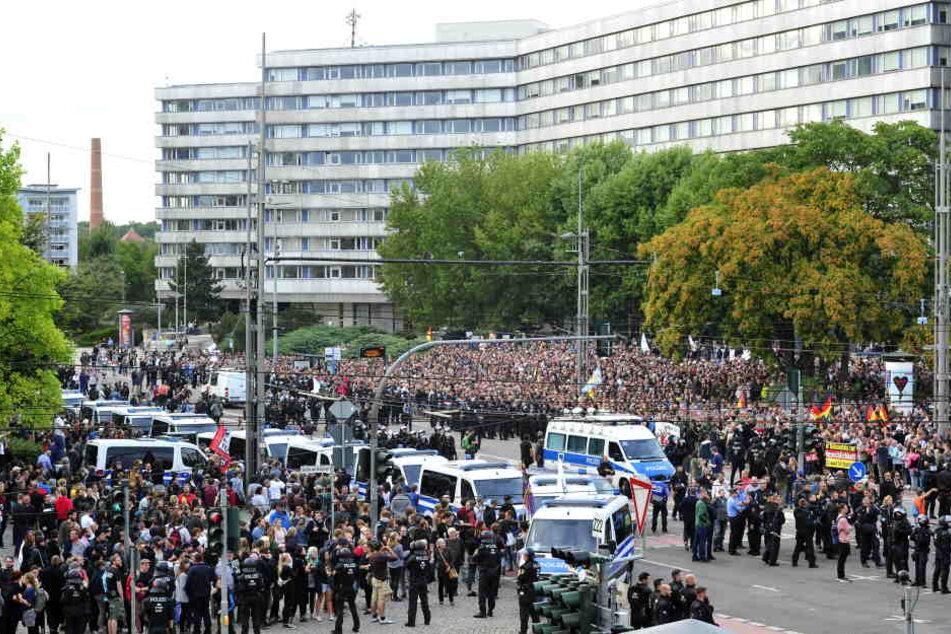 Demonstrationen am Montagabend in der Chemnitzer Innenstadt.