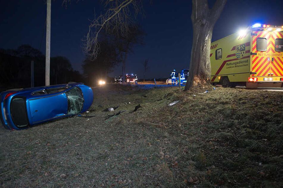 Der Peugeot krachte erst gegen einen Baum und überschlug sich dann.