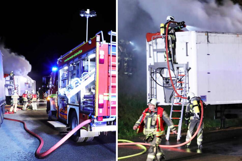 Müll-Laster steht plötzlich auf A4 in Flammen: Feuerwehreinsatz kurz vor Dresden!