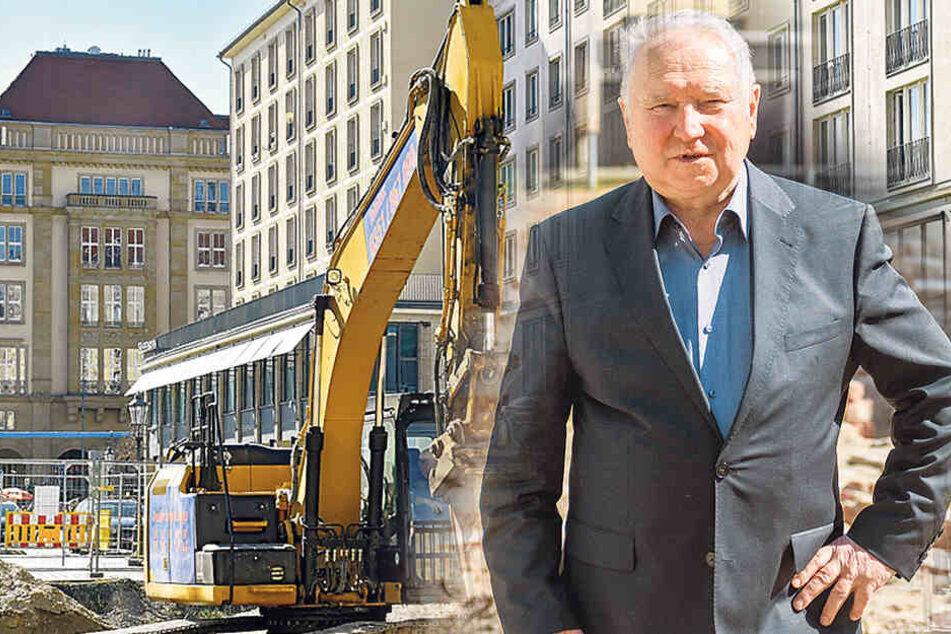 Bagger zerkleinern Reste: Baywobau setzt den Schlussstein am Neumarkt