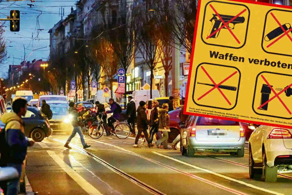 Seit November 2018 sind Waffen und scharfkantige Gegenstände in der Zone rund um die Eisenbahnstraße verboten. (Bildmontage)