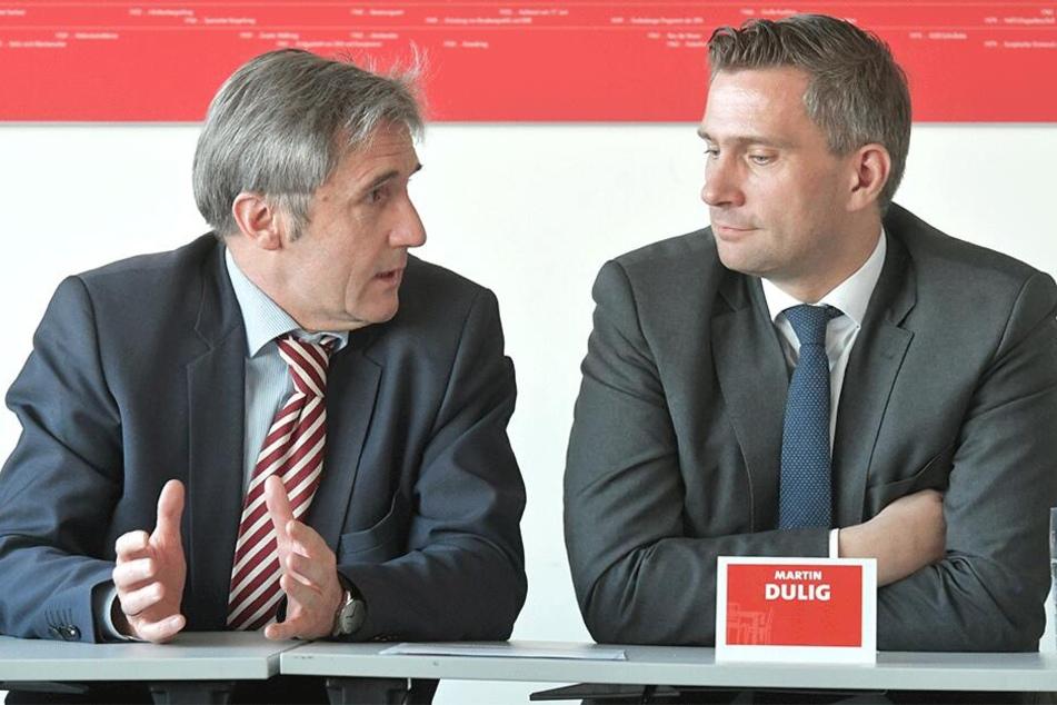 Landeschef Martin Dulig (44, r.) präsentiert im November 2018 Frank Richter (58).