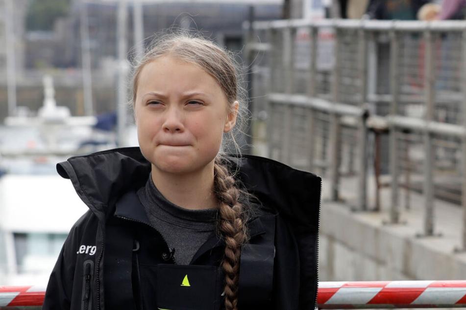 Greta in Plymouth, vor ihrer Abfahrt zum UN-Klimagipfel.