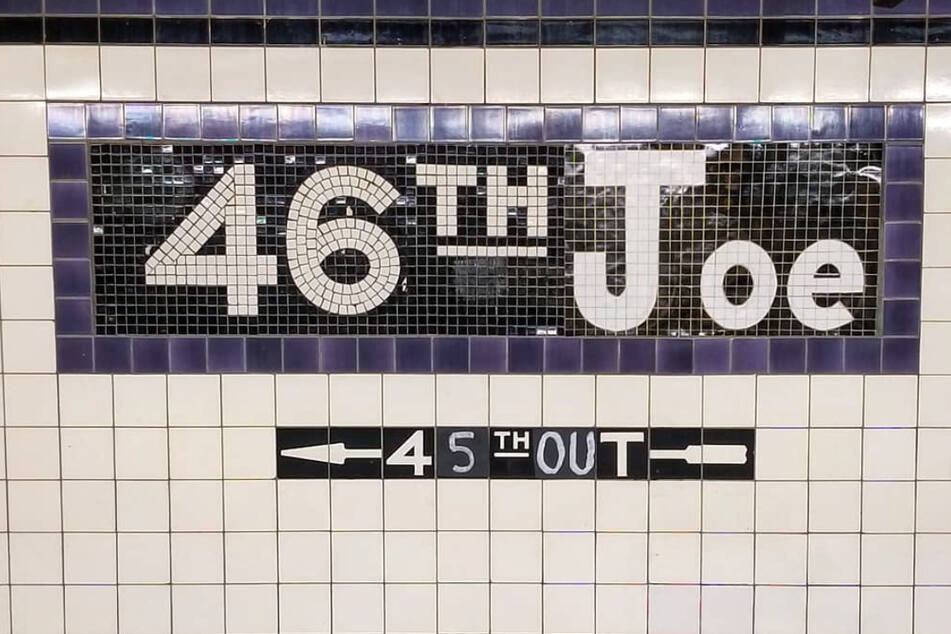 """Adrian Wilson changed the subway station's sign to """"46th Joe."""""""