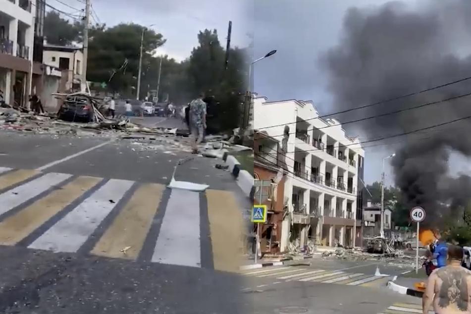 Videos auf Twitter zeigen das Ausmaß des Unglücks.