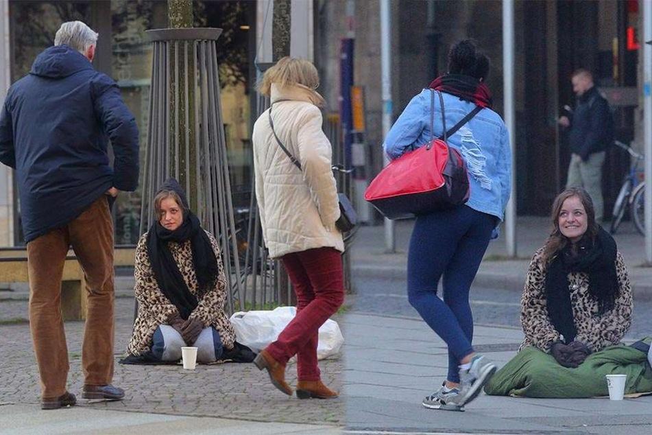 Selbstversuch als Bettlerin: Mit einem freundlichen Lächeln versuchte Morgenpost-Reporterin Franziska Klemenz (25) die Herzen der Passanten zu erreichen.