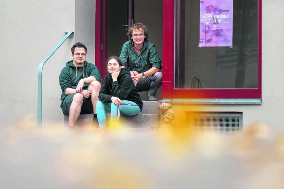 """Marco Hänkel (32, v.l.), Anja Jurleit (23) und Nino Micklish (33) stecken hinter dem Start-Up """"Kombinat Lump""""."""