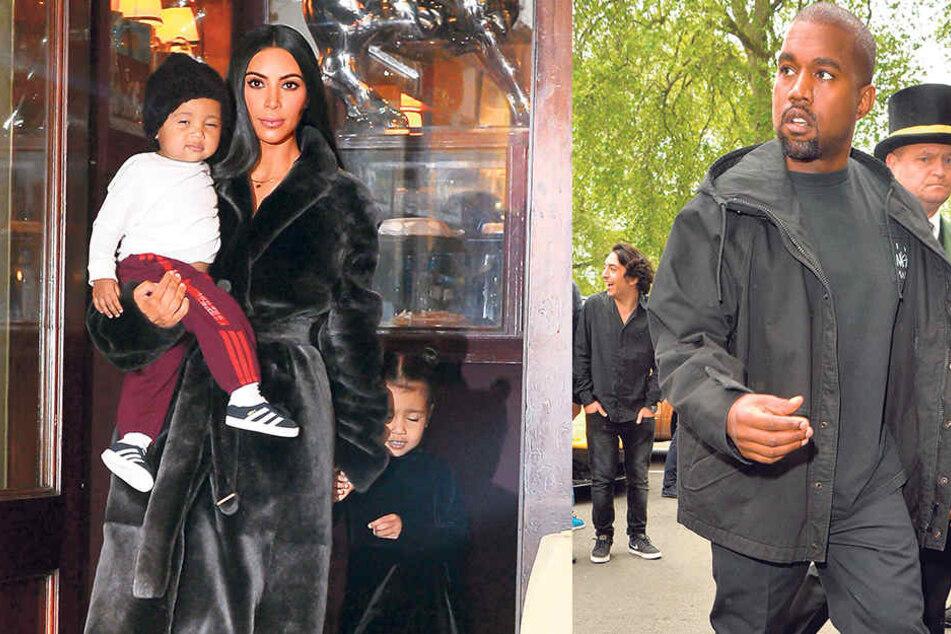 Kim Kardashian (36) wünscht sich ein Geschwisterchen für ihre Kinder Saint  (1) und North (3, r.). Ob Kanye West (39) als Kindsvater die Leihmutter mit auswählen darf?