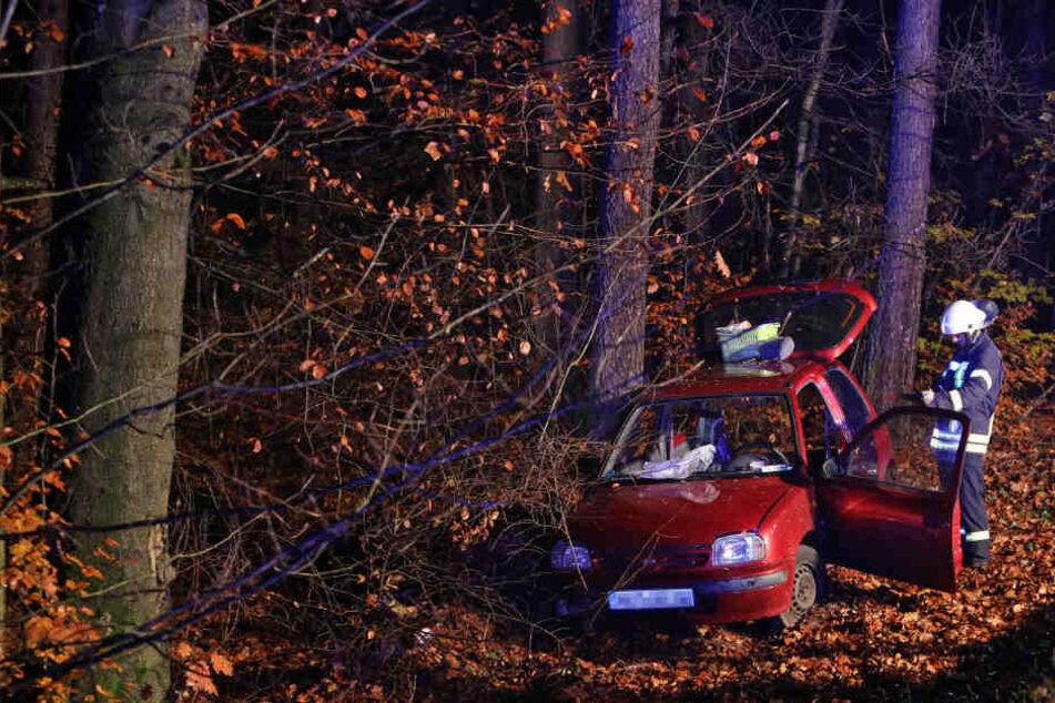 Der Nissan kam offenbar von der Fahrbahn ab und landete im Wald.