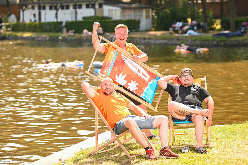Marco Pittschmann (31, v.l.), Steve Grünberg (30) und Uwe Karnig (31) organisieren mit vielen Helfern das Hizzefrei-Festival.