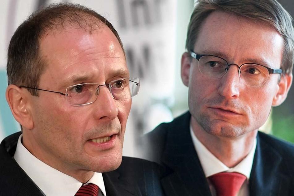 Markus Ulbig (53, l.) ist nicht mehr Sachsens Innenminister. Seinen Posten übernimmt Roland Wöller (47).