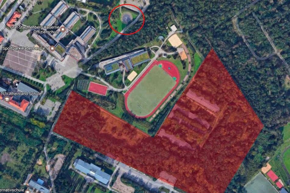 Das Areal aus der Luft verdeutlicht die Nähe zum Bundeswehrstandort.