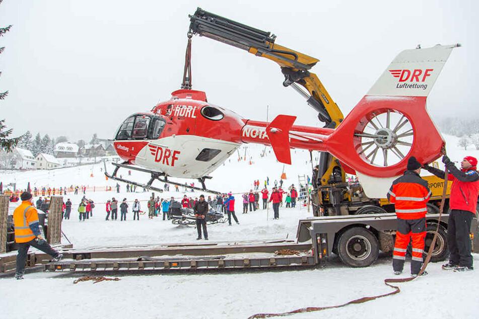 """Im Januar 2014 rutschte """"Christoph 46"""" vom Rodelhang, wurde mit einem Kran geborgen."""