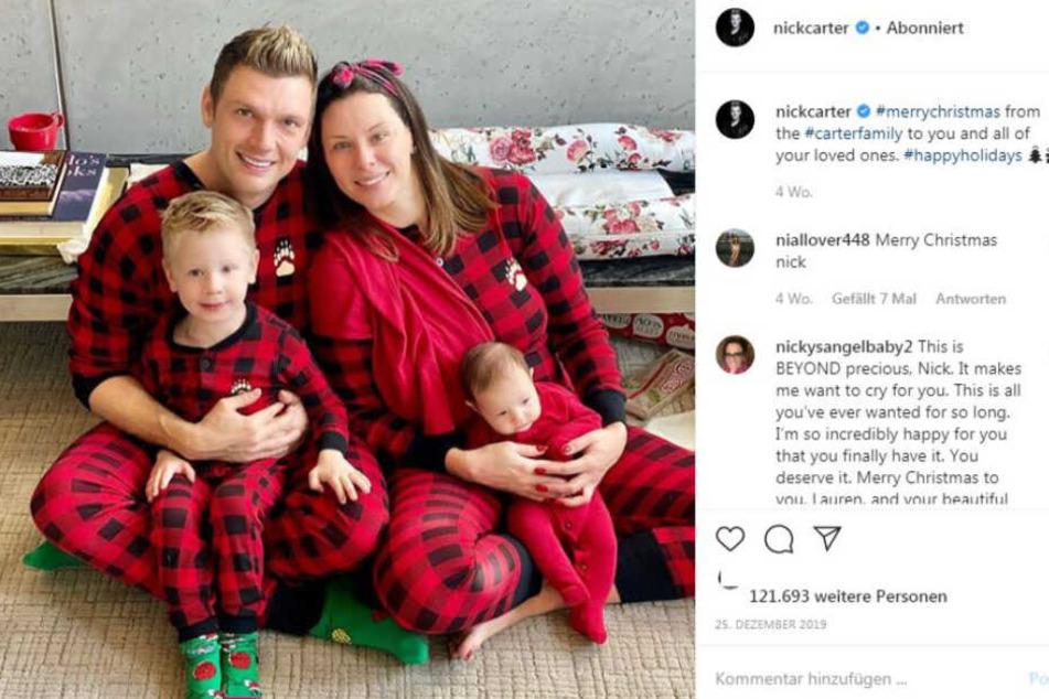Frohe Weihnachten von den Carters. Nick, Frau Lauren, sowie Odin und Saoirse.