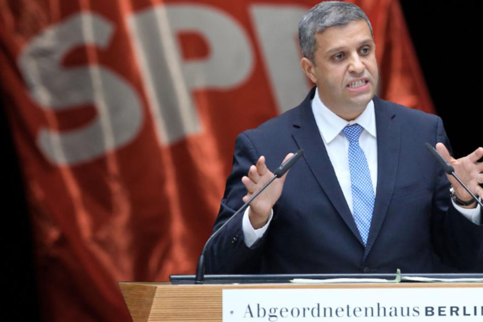 Berlins SPD-Fraktionschef Raed Saleh (41) will einen Mitgliederentscheid der Genossen über die GroKo. (Bildmontage)