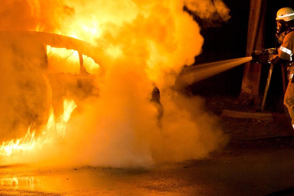 Der Dacia Logan einer fünfköpfigen Familie brannte am Sonntagmorgen auf der A9 bei Leipzig komplett aus (Symbolbild).
