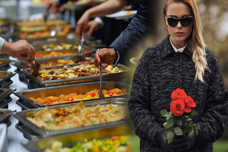 Eine unbekannte Frau ging über Jahre hinweg immer wieder auf Beerdigungen, um sich den Magen beim Leichenschmaus vollzuschlagen. (Symbolbild)