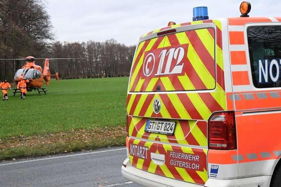 Für den Transport mit einem Rettungshubschrauber war der Unfallfahrer zu schwer verletzt.