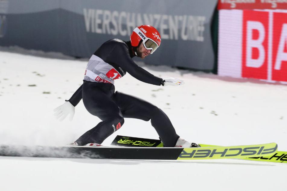 Markus Eisenbichler beim Springen der Vierschanzentournee in Bischofshofen (Österreich).