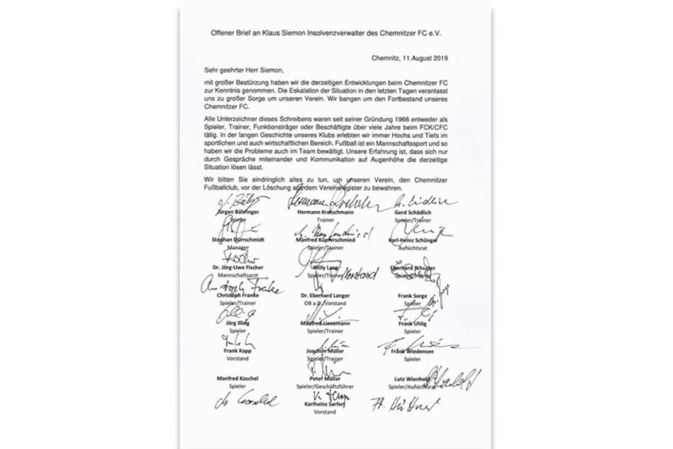 Mit diesem Brief wenden sich die CFC-Legenden an den Insolvenzverwalter.