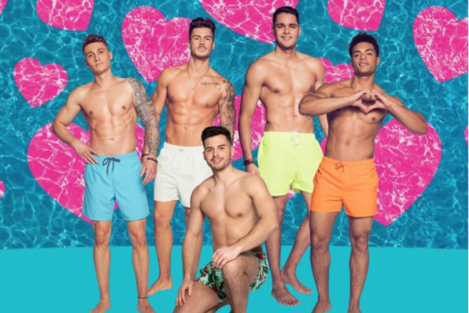 """Das sind die männlichen Kandidaten der neuen Staffel """"Love Island"""" v.l.n.r.: Fynn (23), Adriano (26), Dennis (27), Breno (21) und Amadu (25)."""