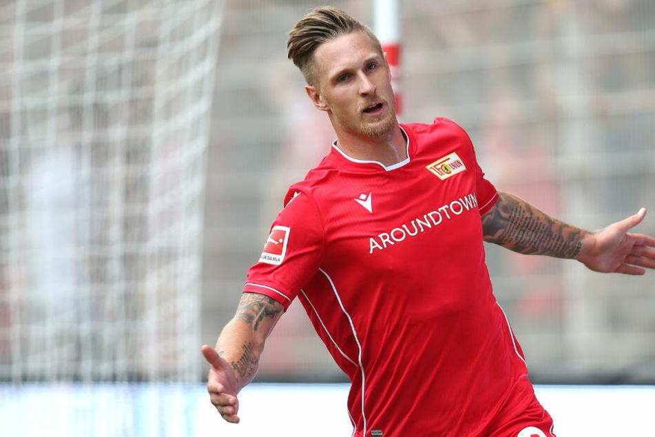 Sebastian Polter bejubelt seinen Treffer gegen Bröndby IF.