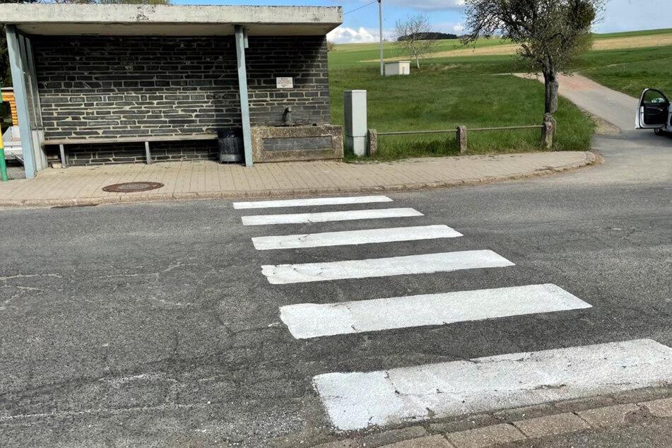 Ein selbst gemalter Fußgängerüberweg führt über eine Straße vor einer Bushaltestelle. Der Zebrastreifen wurde nach Angaben der Polizei in der Nacht zum 1. Mai vor einer Bushaltestelle angebracht.