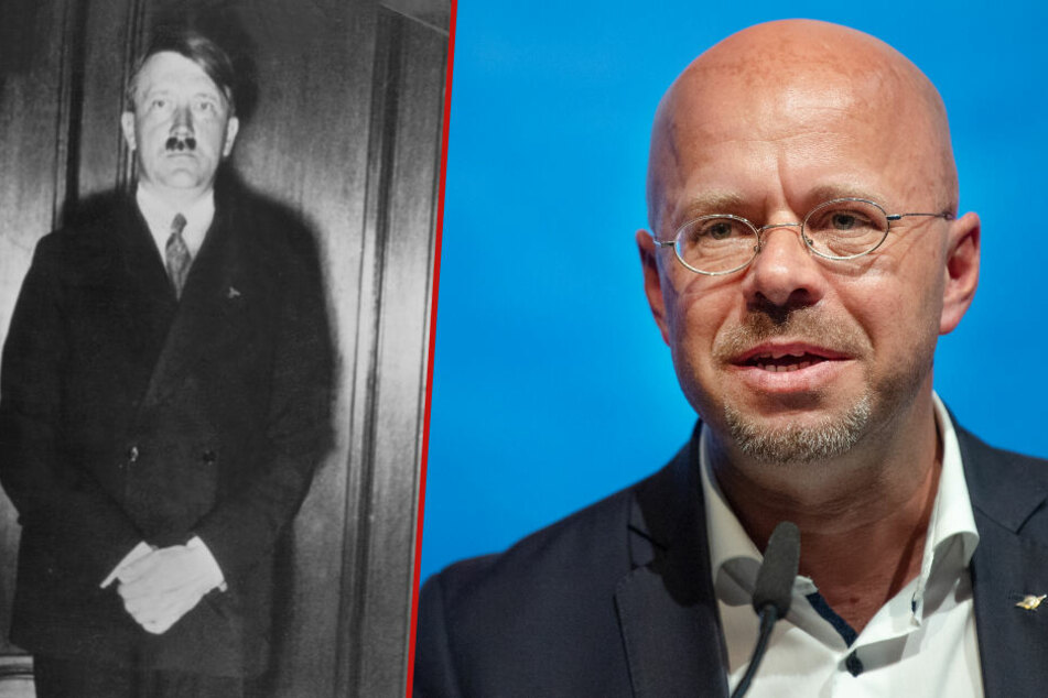 Der Brandenburger AfD-Landesvorsitzende Andreas Kalbitz (r.) war an der Entstehung von zwei Filmen über Hitler (l.) und die Wehrmacht beteiligt. (Bildmontage)