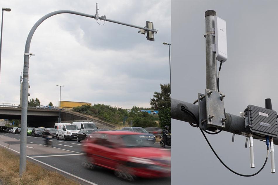 Hier beginnt die Zukunft: Das Funkmodul hängt bereits an der Ampel auf der Wilschdorfer Landstraße. Über die kleinen Kästen können Infos mit Autos ausgetauscht werden.