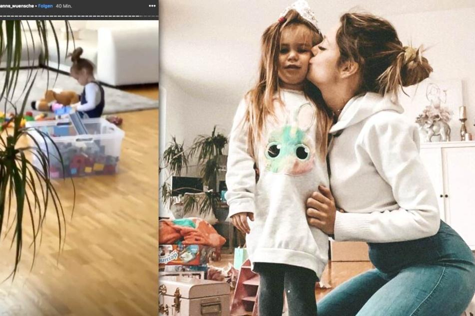 Auf Instagram zeigt Anne Wünsche (28) ihre Tochter Juna (4) beim Spielen.