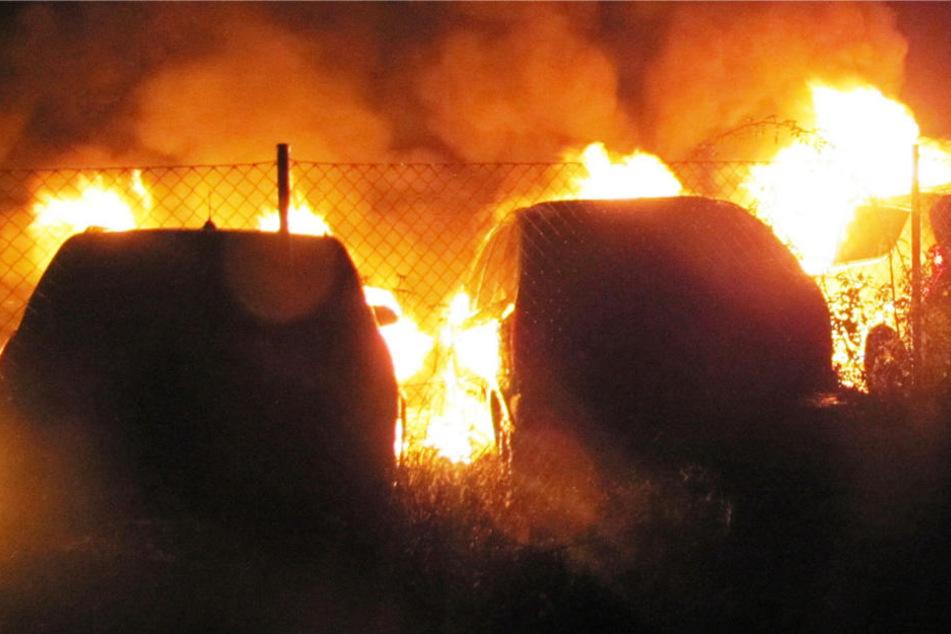 Autos in Frankfurt in Flammen - Haus evakuiert