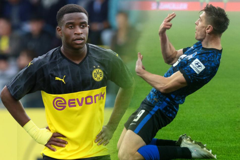 Dortmunds Youssoufa Moukoko (16, l.) könnte gegen Herthas Krzysztof Piatek sein Bundesliga-Debüt feiern. (Bildmontage)