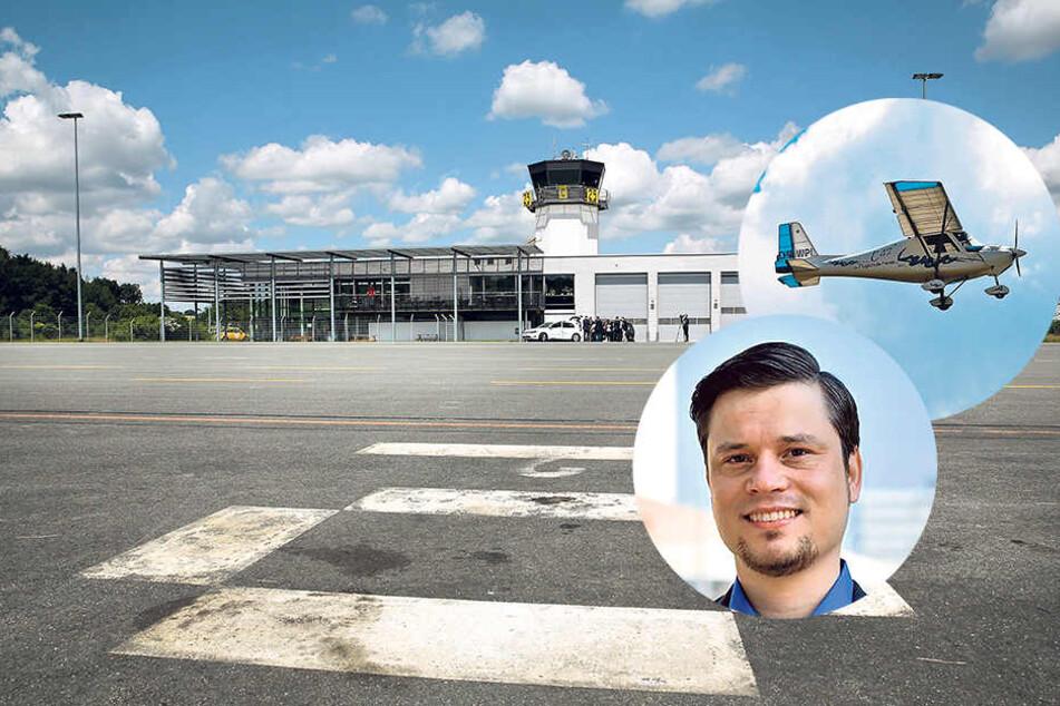 Still ruht die Landebahn: Auf dem Flugplatz Chemnitz/Jahnsdorf ist die Anzahl der Flüge und Passagiere deutlich gesunken. Stadtrat Thomas Sänger (37, AfD) fordert, die Landebahn auf 1 200 Meter zu verlängern.