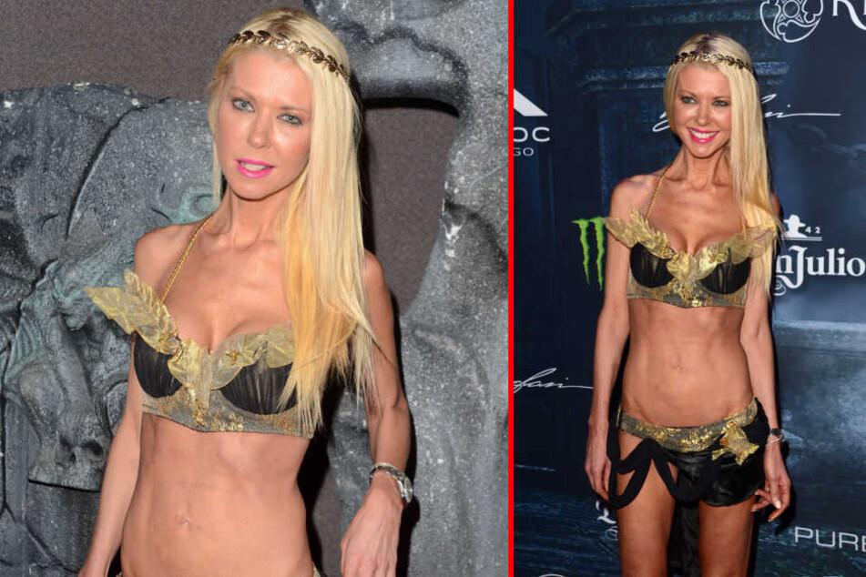 "Bei der ""Maxim""-Halloween-Party zeigt sich Model Tara Reid im halbnackten Mager-Look."