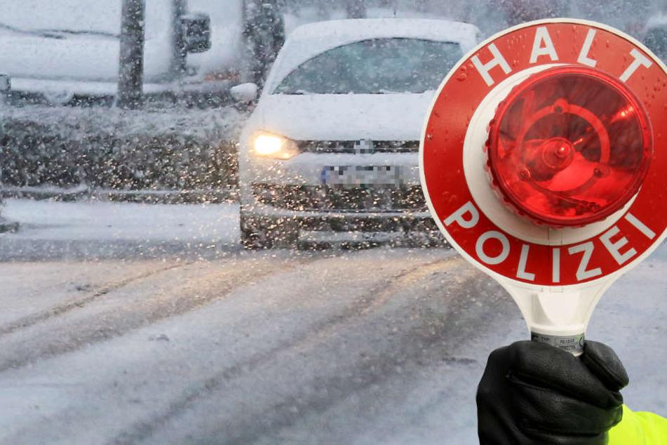 Die Polizei erinnert alle Autofahrer an die Winterreifenpflicht bei Schneefall (Symbolbild).