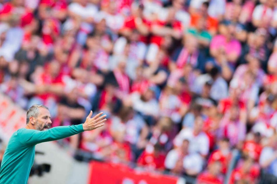 4. Spieltag im RheinEnergieStadion: Mönchengladbachs Trainer Marco Rose gestikuliert.