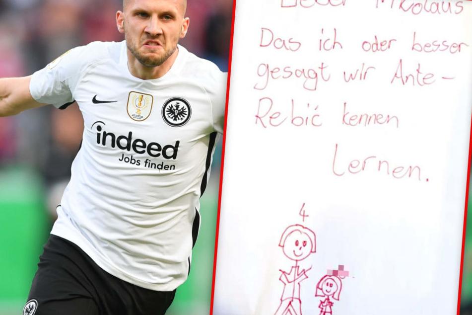 Die Sechsjährige und ihre Schwester wünschten sich zu Nikolaus nichts sehnlicher als Eintracht-Stürmer Ante Rebic einmal persönlich zu treffen.