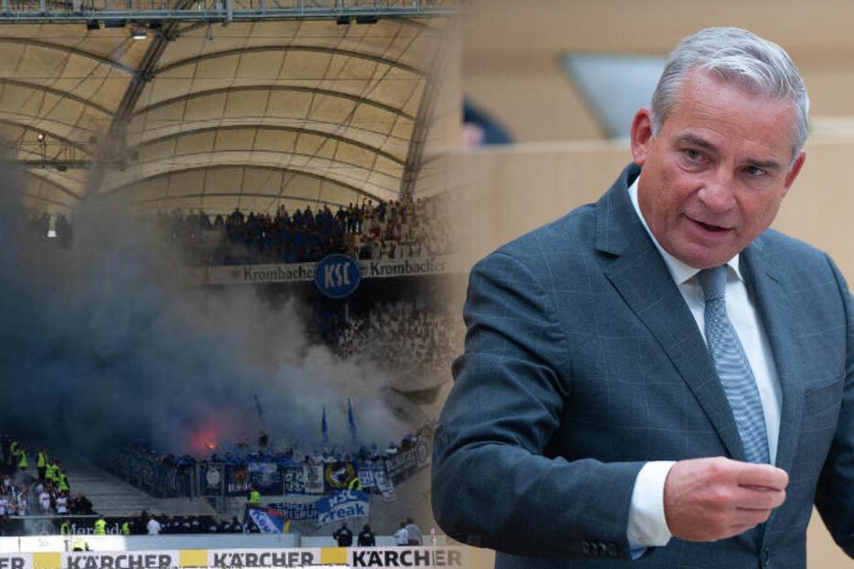 Pyro in Fußballstadien: Strobl will Bengalo-Werfern den Führerschein wegnehmen