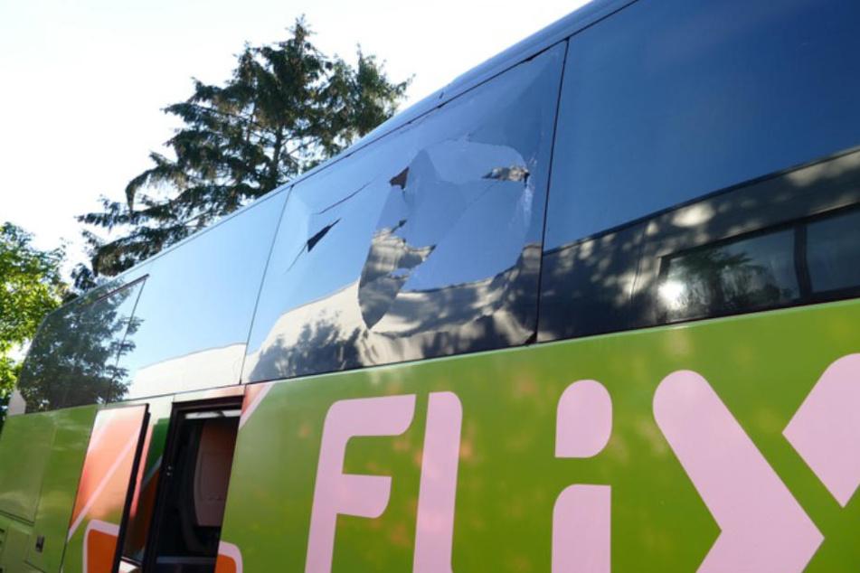 Die schwere Eisenkette hinterließ ein zerstörtes Fenster an dem Bus.