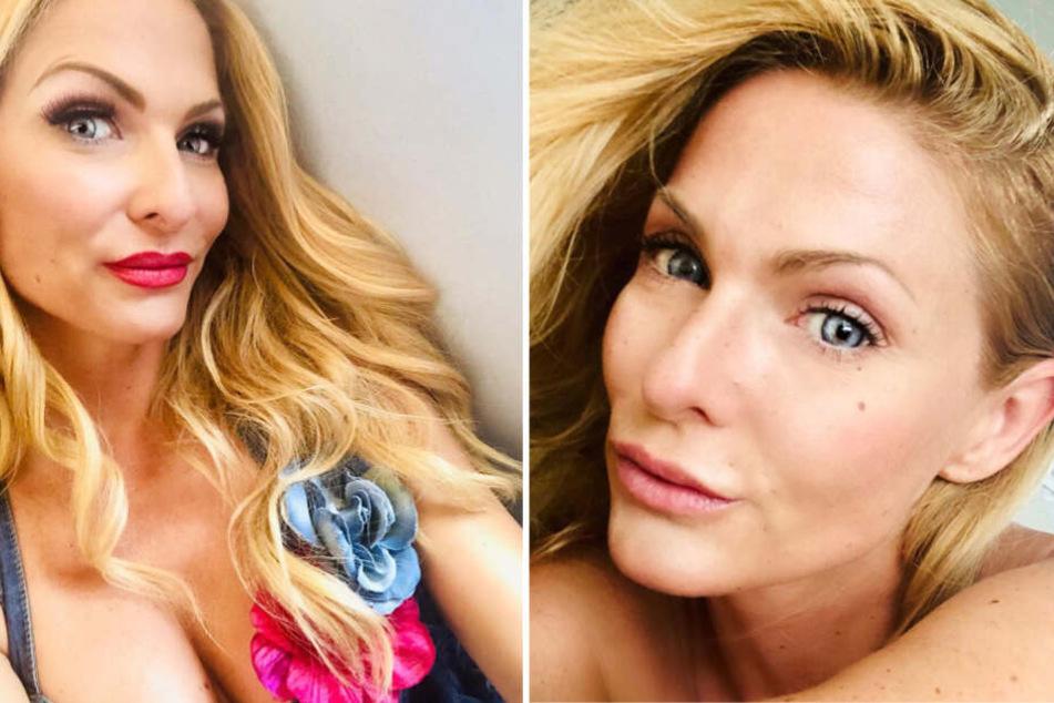 Sonya Kraus einmal mit und einmal ohne Make-up.